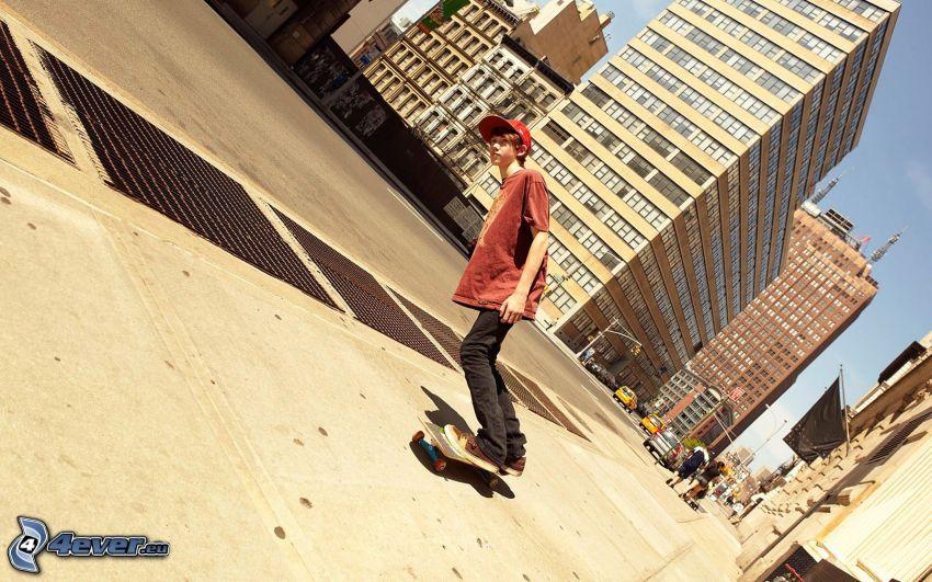 skateboarding, city