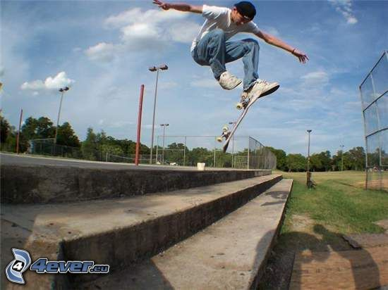 skater, jump, stairs