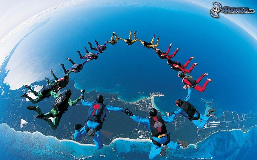 skydivers, circle