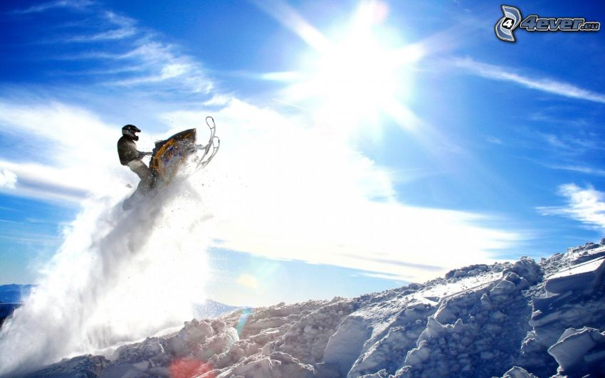 snowmobile, jump, snow, sun