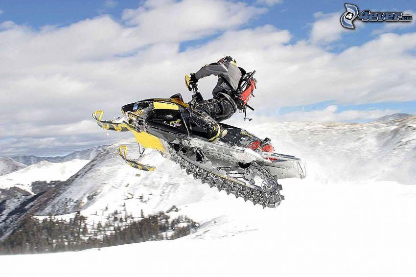 snowmobile, jump, snowy landscape