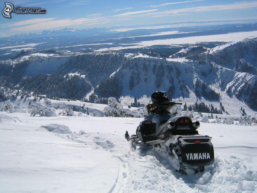 snowmobile, snowy landscape