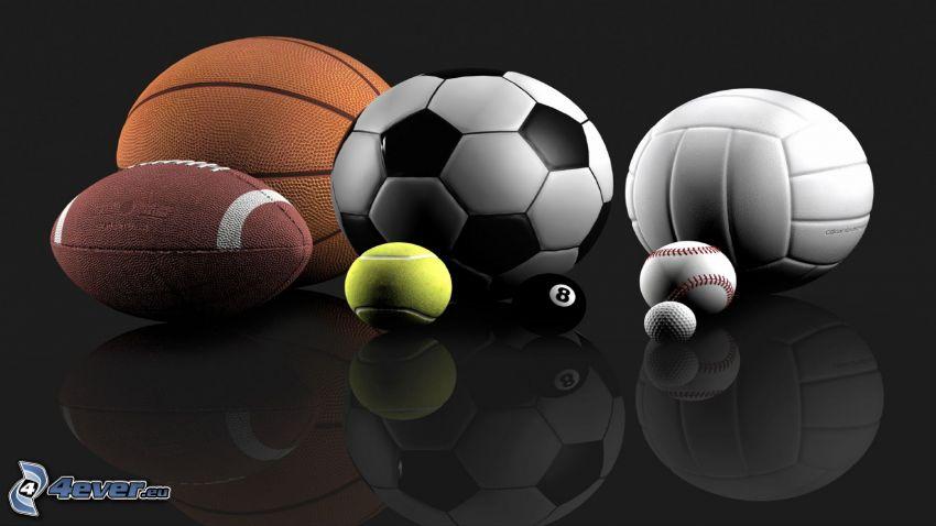 soccer ball, basketball ball, tennis ball, golf ball, billiard balls