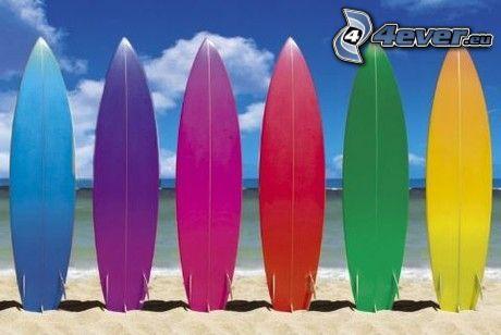 surferské boards, surfing, beach, sea