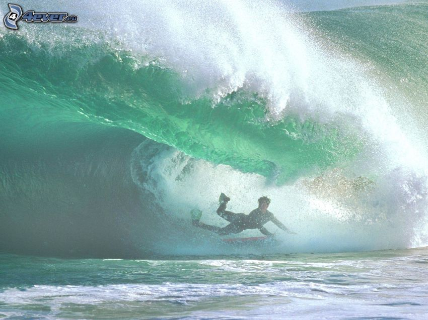 surfing, fall, wave