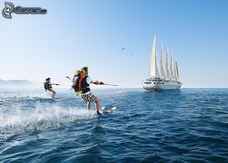 surfing, water ski, cruise ship, sea, vacation