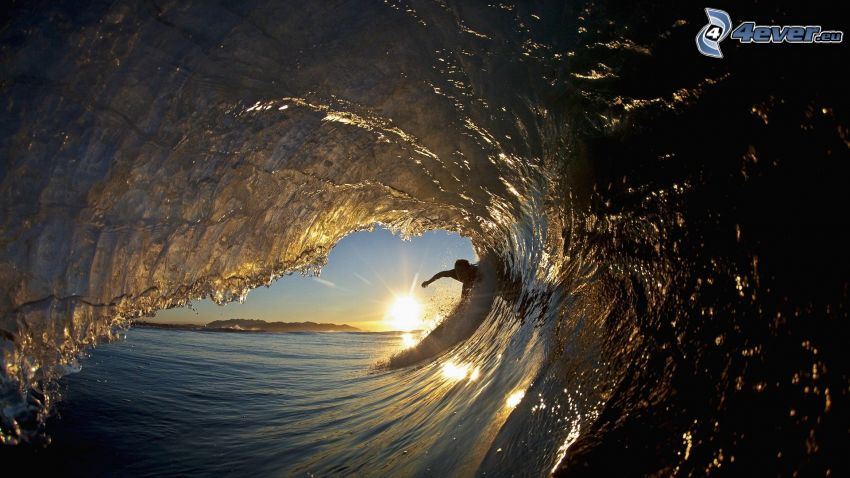 surfing, wave, sunset