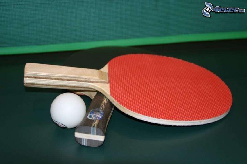 table tennis, racket, ball