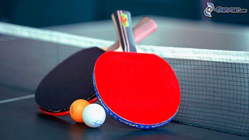 table tennis, racket, balls, net