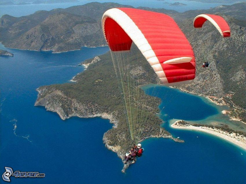 tandem paragliding, coast, sea