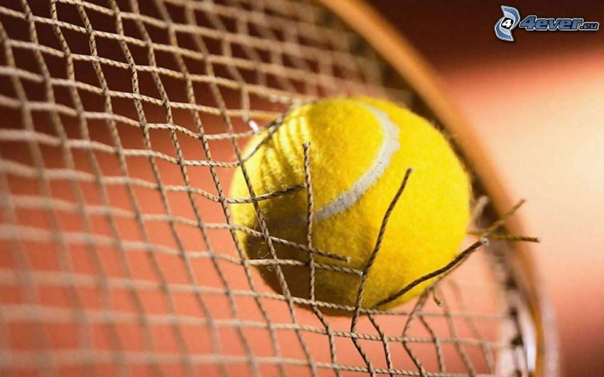tennis ball, tennis racket, hole