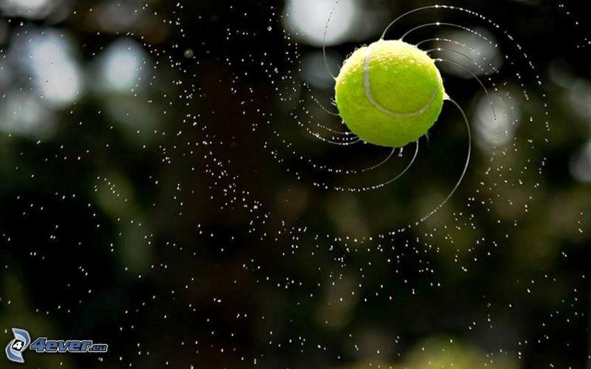 tennis ball, water, splash