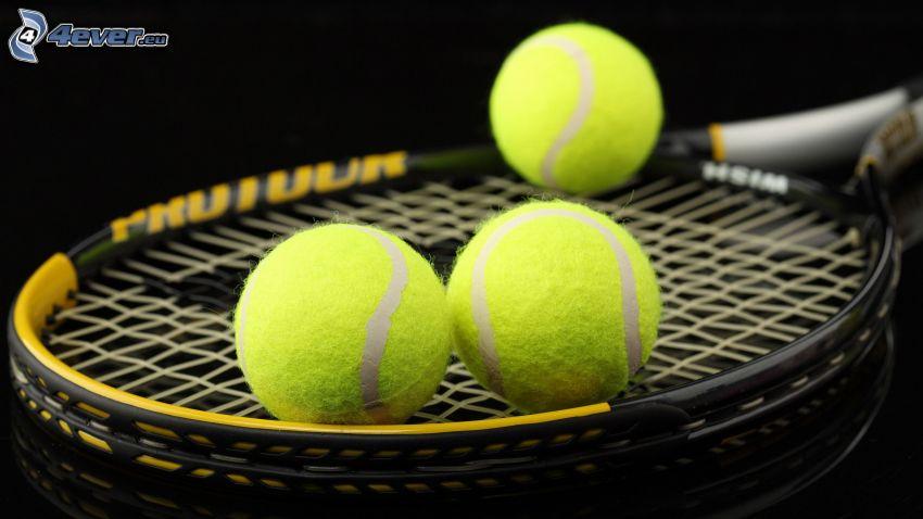 tennis balls, tennis racket