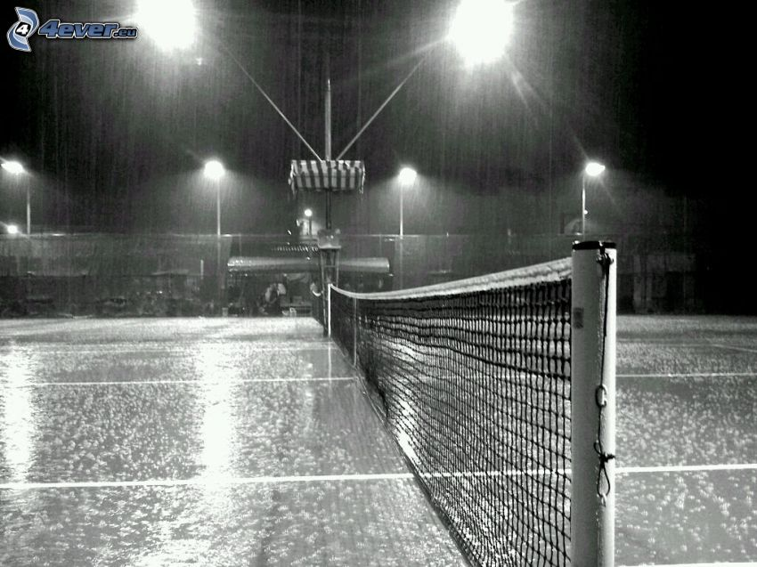 tennis courts, night, rain, black and white photo
