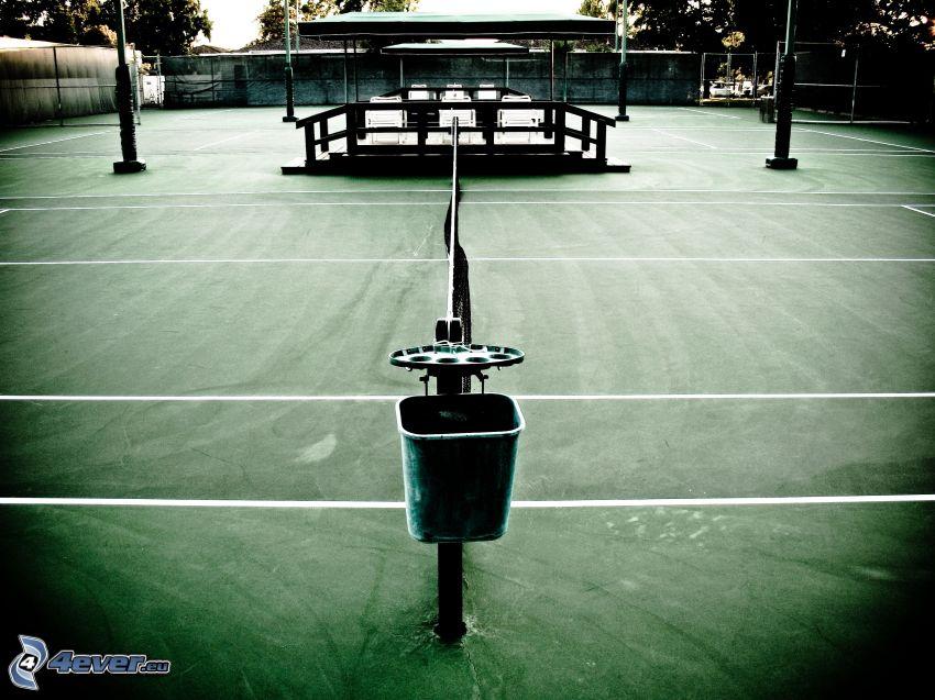 tennis courts, sitting, wastebasket