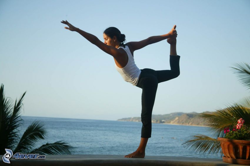 warming up, yoga, the view of the sea