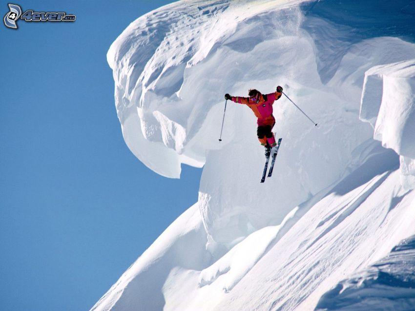 alpine skier, snow