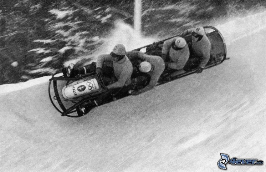 bobsledding, old photographs, black and white photo