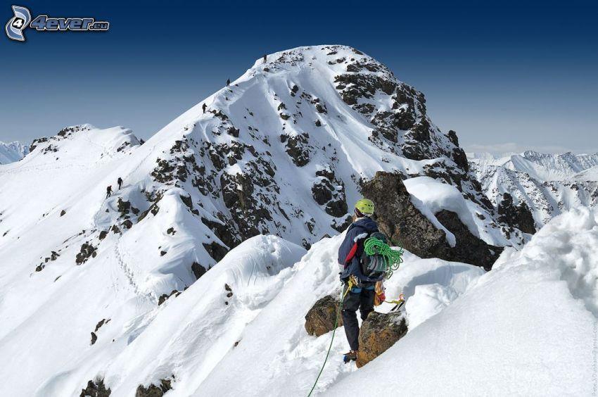 climber, rocky mountains, snowy mountains
