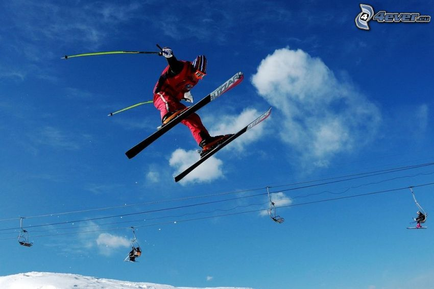 extreme skiing, jumping on the ski, cable-car