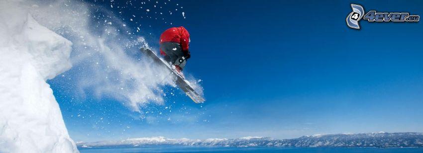 extreme skiing, jumping on the ski, panorama
