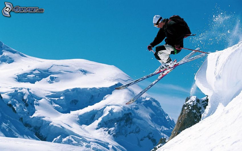 extreme skiing, jumping on the ski, snow