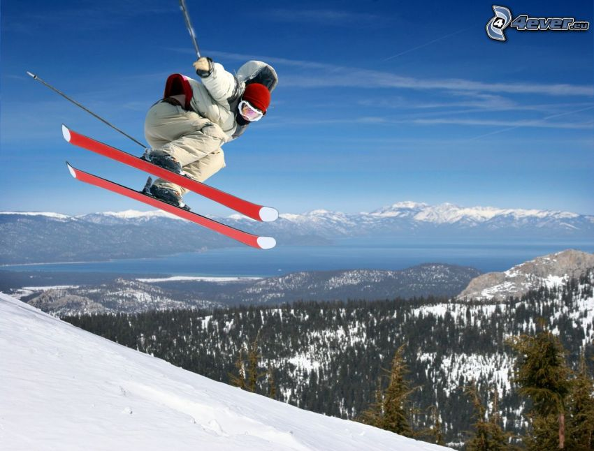 extreme skiing, jumping on the ski, snowy hills