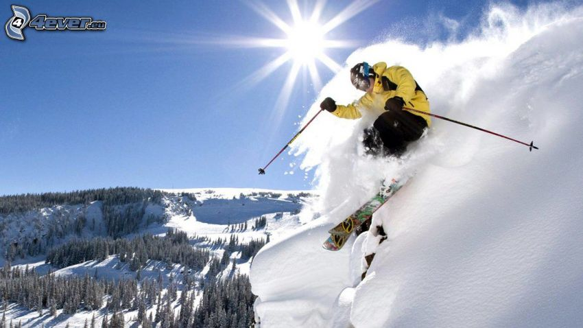 extreme skiing, jumping on the ski, snowy mountains