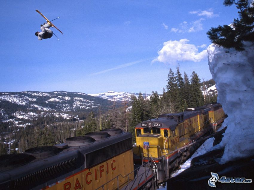 extreme skiing, jumping on the ski, train