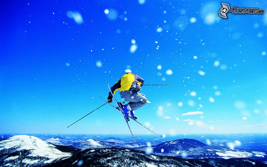 extreme skiing, jumping on the ski