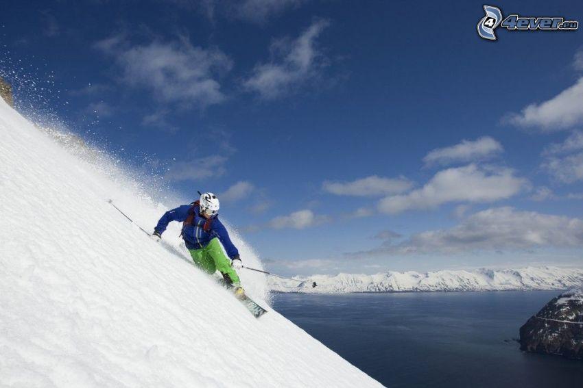 extreme skiing, lake, snowy mountains