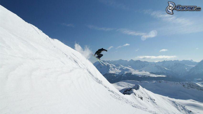 extreme skiing, skialpinist, snowy mountains