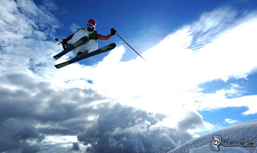 extreme skiing, snow, jumping on the ski