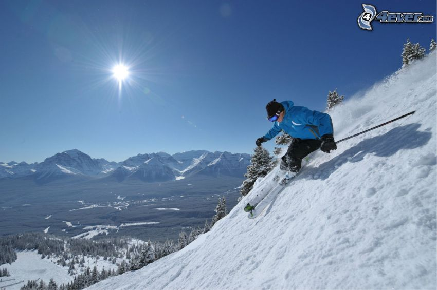 extreme skiing, snowy mountains, sun, view of the landscape
