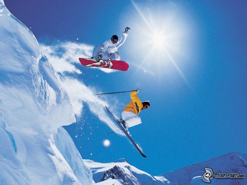 extreme snowboarding, extreme skiing, jumping on the ski, snow, sun