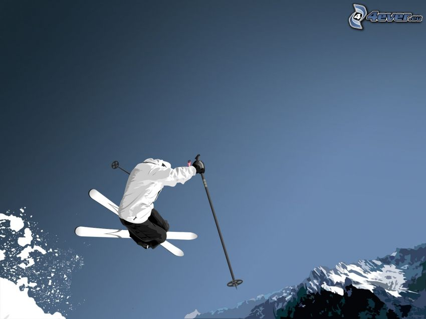 jumping on the ski, acrobatics