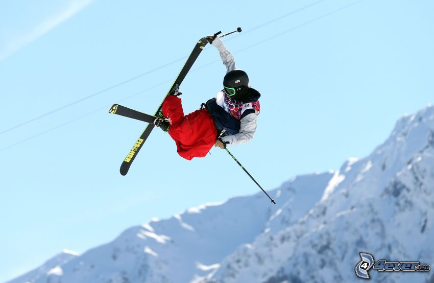 jumping on the ski, acrobatics