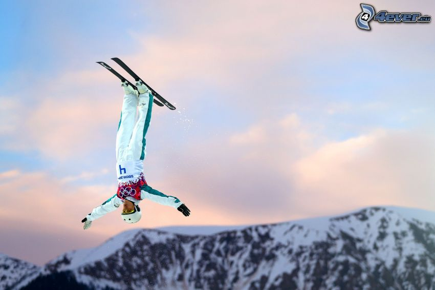 jumping on the ski, extreme skiing, acrobatics