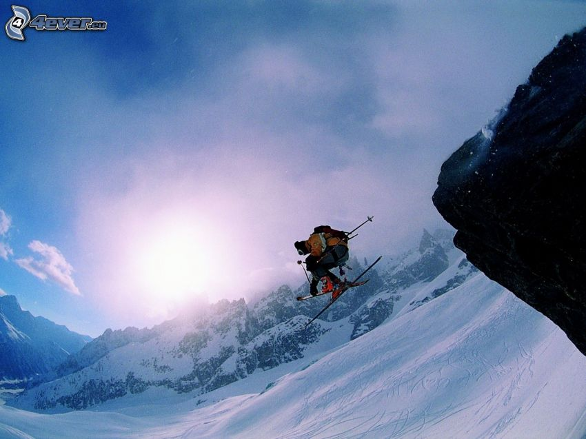 jumping on the ski, skier, snowy mountains