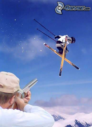jumping on the ski, skier, weapon