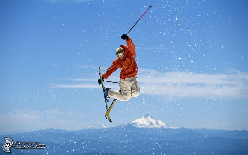 jumping on the ski, skier