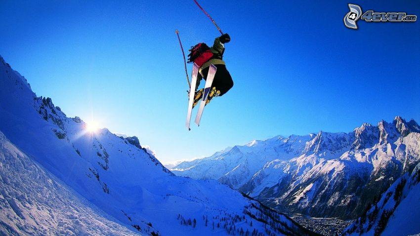 jumping on the ski, snowy mountains, extreme skiing
