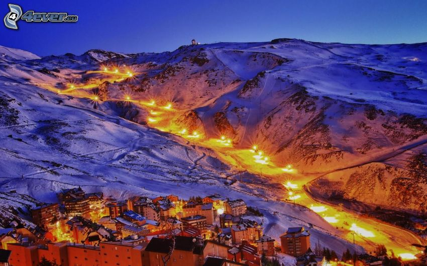 ski slope, lights, village, snowy mountains