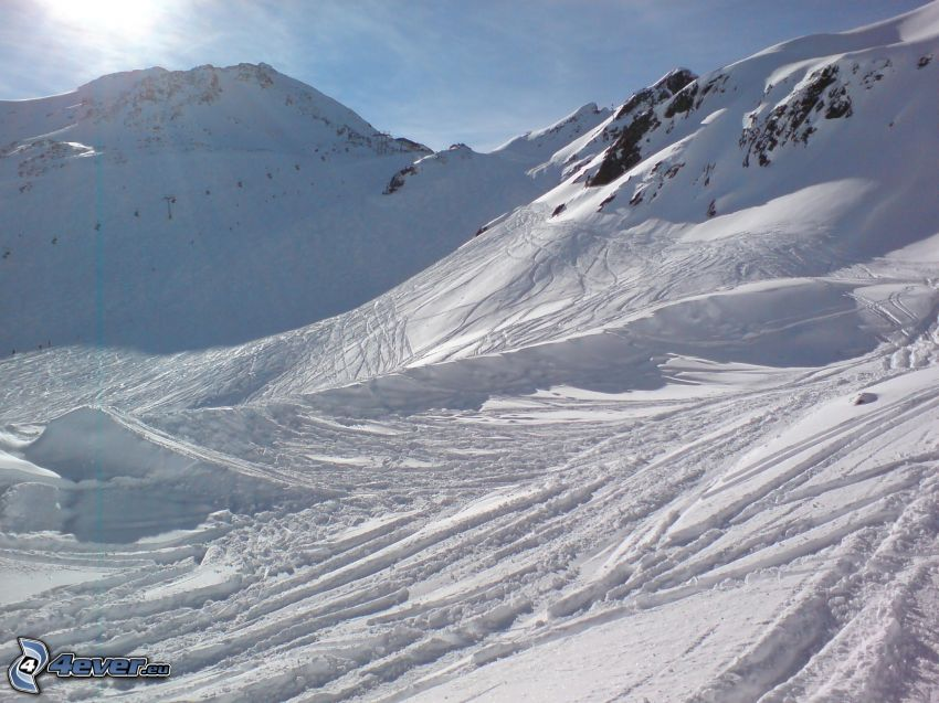 ski slope, snowy mountains