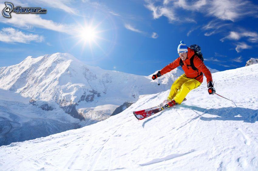 skiing, skier, ski slope, snowy hills, sun