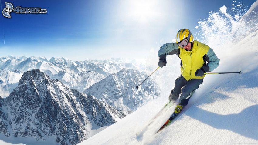 skiing, skier, snowy mountains