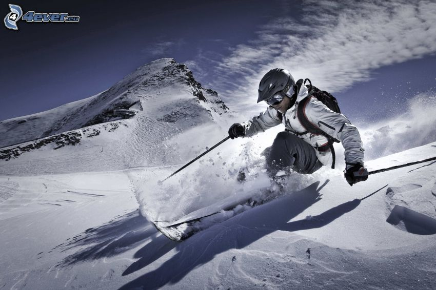 skiing, snow, snowy hill