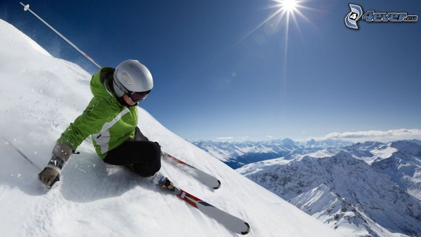 skiing, snowy hills, sun