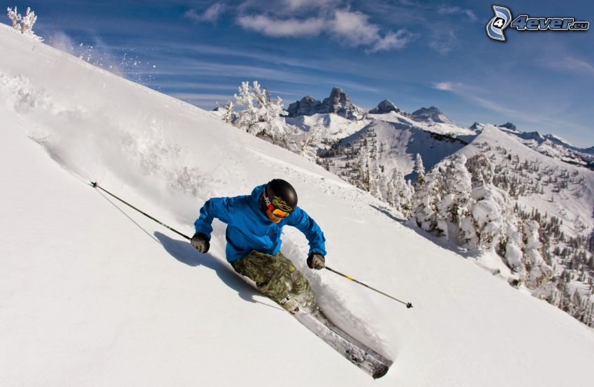 skiing, snowy mountains