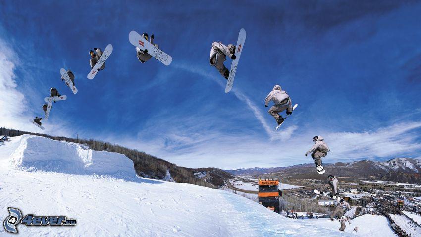 snowboard, jump